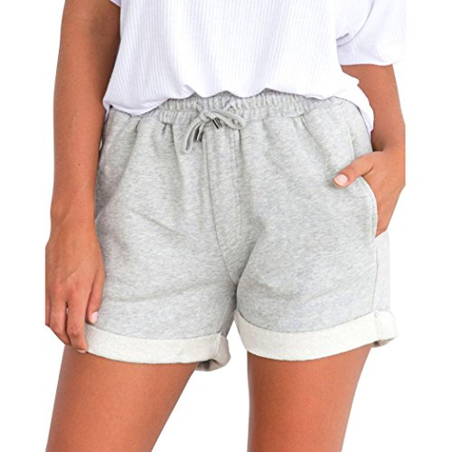 (Women Beach Shorts High Waist Short Pants Stretch Activewear Casual Lounge Shorts (Gray, S))