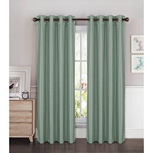 Window Elements Kim Faux Silk Extra Wide 108 x 96 in. Grommet Curtain Panel Pair, Splash Blue ()