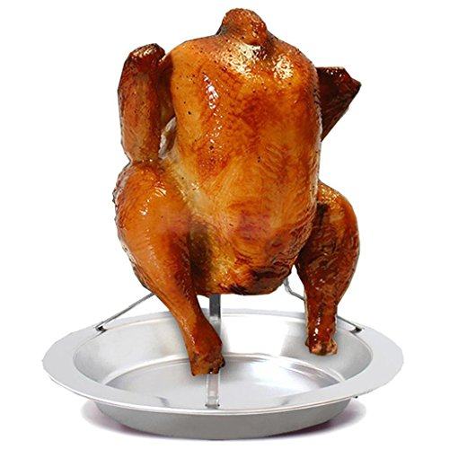 Beer Can Chicken Duck Roaster w/ Drip Pan BBQ Grill Oven Rack Cooker - Drunken Cooker Chicken