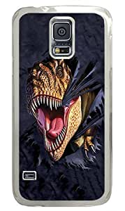 Durable Samsung Galaxy S5 Case T Rex Tearing Cloth Awesome Samsung S5 Case Cover PC Transparent Case for Samsun Galaxy S5 SV I9600