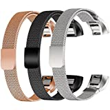 TDRTECH [3 Color Pack Replacement Milanese Band for Fitbit Alta/Fitbit Alta HR, Milanese Loop Stainless Steel Strap Accessories with Magnetic Clasp for Fitbit Alta/Alta HR, Rosegold, Black, Silver