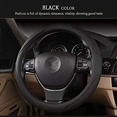 coofig Black Microfiber Leather Car Steering Wheel Cover,No Smell,Anti-Slip,Snug Grip,Fit Most Car,Cool in Summer Universal Medium 14.5 15 15.5 Inches(Red Line): Automotive