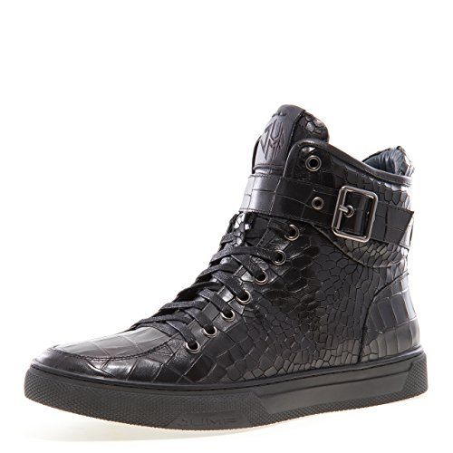 - Jump Newyork Men's Sullivan Black Croco Round Toe Crocodile Stamped Leather Lace-Up Inside Zipper and Strap High-Top Sneaker 8 D US Men