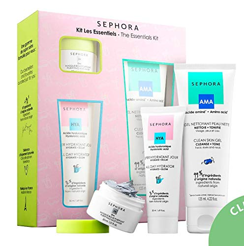 (SEPHORA COLLECTION The Essentials Kit: Clean Skin Gel, All Day Hydrator, Purifying Mud Mask)