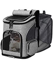 IREENUO Cat Backpack Carrier - Expandable Mesh Breathable Foldable Pet Travel Bags for Small Dogs Cats Rabbits Under 17lb