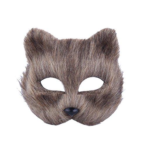 vimans 2017 Fox Facial Mask Adult Photography Grey Cocktail Masks ()