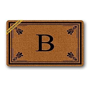 """Artsbaba Doormat Personalized Your Text Door Mat Classic Flowers Frame Doormats Monogram Non-Slip Doormat Non-woven Fabric Floor Mat Indoor Entrance Rug Decor Mat 30"""" x 18"""""""