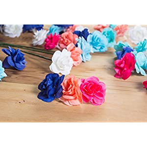 Juvale Artificial Flower Heads - 60-Pack Fabric Fake Flowers for Wedding Decorations, Baby Showers, DIY Crafts, Mixed Colors, 1.5 x 1.5 x 1.2 Inches 3