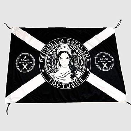 Q&J Bandera Repubblica Catalana Negra 1 de Octubre - Medidas 70 x 100 cm. - Polyester 100% - para Exterior e Interior: Amazon.es: Jardín
