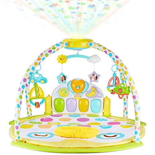 (NEW 2019 Baby Gym Kick and Play Piano Activity – 0m+ Large Play & Learn Infant Toys Jungle Gym – Baby Kick Piano Mat with Rotating Star Mobile & Star Projector – Machine Washable Newborn & Toddler Gym)