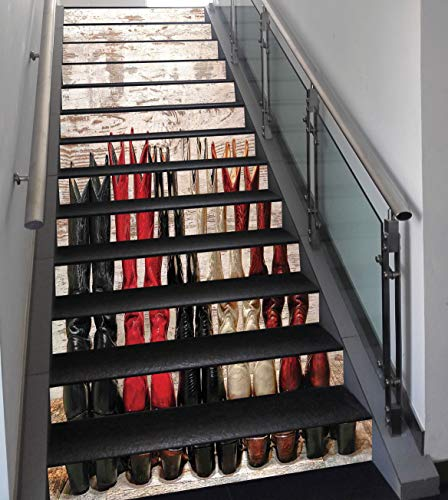 Stair Stickers Wall Stickers,13 PCS Self-Adhesive,Western,American Legend Cowgirl Leather Boots Rustic Wild West Theme Folkart Print,Beige Red Black,Stair Riser Decal for Living Room, Hall, Kids Room for $<!--$68.74-->