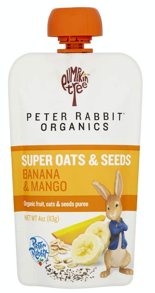 Pumpkin Tree Peter Rabbit Organics Super Oats & Seeds, Puree Squeeze Pouch, Banana & Mango, 4 Ounce (Pack of 10)