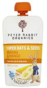 Pumpkin Tree Peter Rabbit Organics Super Oats & Seeds, Puree Squeeze Pouch, Banana & Mango, 4 Ounce (Pack of 10)