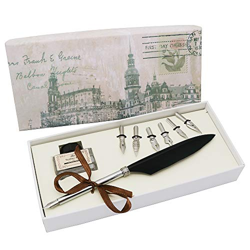 Dip Pen Set Antique Feather Writting Quill Ink Dip Pen Calligraphy Feather Quill Pen Set (Black Feather Pen)