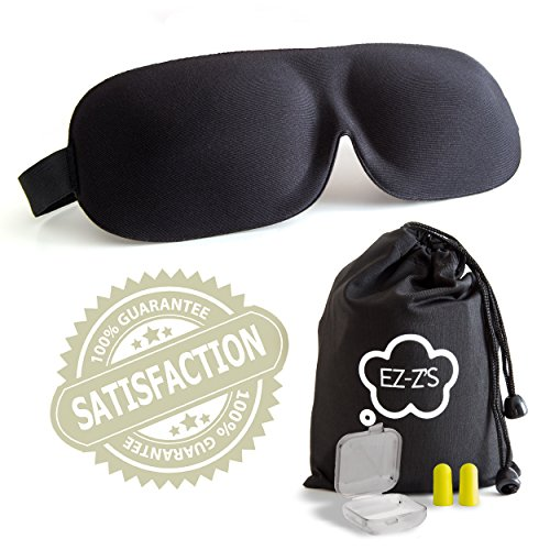 EZ-Z's Sleep Mask & Earplugs - Contoured and Comfortable, Luxury Memory Foam Eye mask - for Sleeping During Travel, Shift Work, Meditation, Migraines, Insomnia