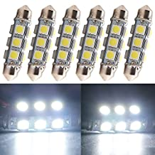 """Everbright 6-Pack White 44MM 1.72"""" 5050 Chipes 12-SMD 211-2 212-2 569 578 LED Festoon Interior Map / Dome Dome / Trunk / Glove Box Lights LED Lamp (DC-12V)"""