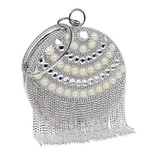 Sac Sac à Gland Soirée Cristal Fête Rond De Main Pochette Silver Mariage Clutch Bourse D'embrayage Sac Poignet Perle Femmes Prom Diamant 6UqSxZwnZW