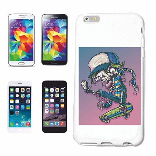 "cas de téléphone iPhone 7 ""SKULL ON SKATEBOARD SKATEBOARDER LONGBOARD FREESTYLE SKATER"" Hard Case Cover Téléphone Covers Smart Cover pour Apple iPhone en blanc"