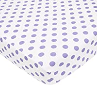 American Baby Company 100% Cotton Percale Fitted Crib Sheet, White/Lavender D...