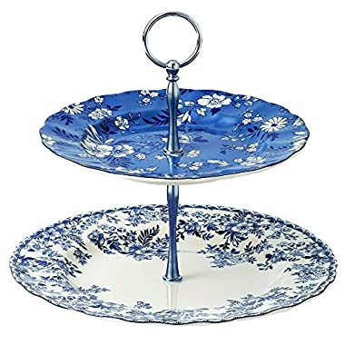 Johnson Brothers Devon Cottage Cake Stand 2-Tier Blue, Blue