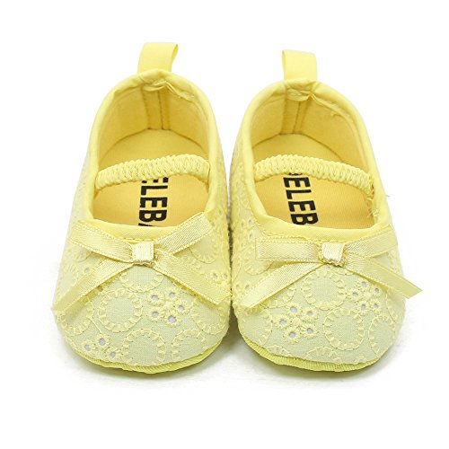 Delebao Baby Girl Infant Satin Mary Jane Baptism Shoes Dance Ballerina Slippers (6-12 Months, Yellow)