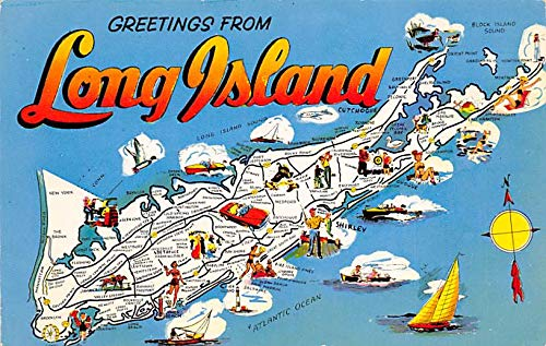 Greetings from Long Island USA Postcard Unused