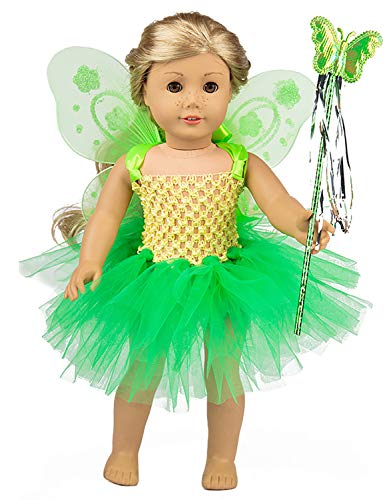 ebuddy 3pc/Set Green Angel Doll Clothes Include Dress Magic-Wand Wing for 43CM Baby Born Doll,18 inch American Girl Doll ()