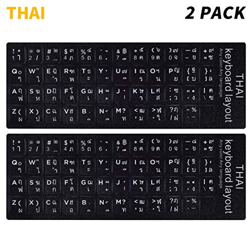 Emachines Pc Notebook Computers - (2PCS Pack) Thai Keyboard Stickers, Keyboard Stickers Thai Black Background with White Lettering for Computer Laptop(Thai)