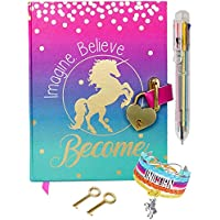 Life is a Doodle Diary with Lock for Girls - Unicorn Journal with Upgraded Lock and Keys, Notebook Pages for Secret Writing , Blank Pages for Drawing, Bracelet, Multicolor Pen and Bookmark Included