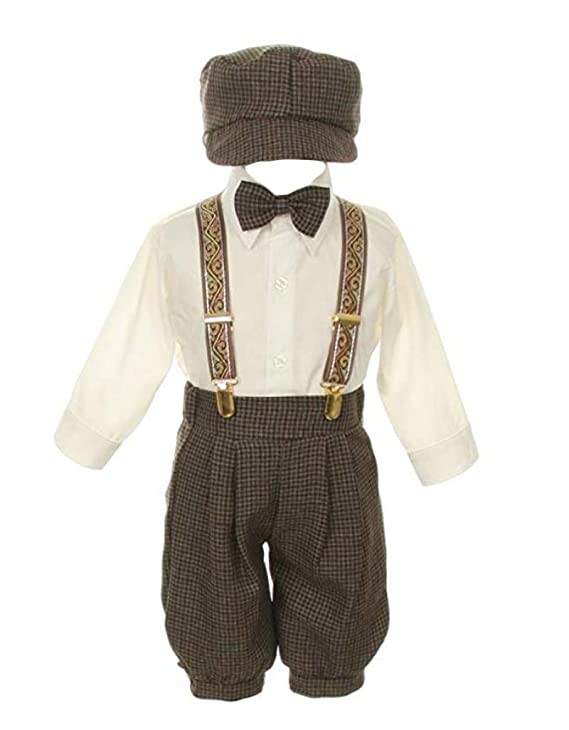 New Vintage Boys Clothing and Costumes Vintage Dress Suit BowtieSuspendersKnickers Outfit Set-Houndstooth-Brown $27.99 AT vintagedancer.com