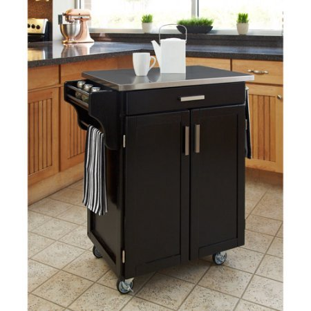 """Indoor Rolling Home Styles Portable Table On Wheels Kitchen Cabinet Storage Multipurpose Cart, Black / Stainless Steel Top 32.5""""L x 18.75""""D x 35.5""""H"""