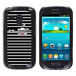FECELL CITY // Duro Aluminio Pegatina PC Caso decorativo Funda Carcasa de Protección para Samsung Galaxy S3 MINI NOT REGULAR! I8190 I8190N // Nails Black White Lady