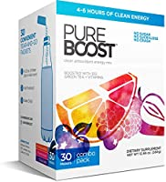 Pureboost Clean Energy Drink Mix. No Sugar. No Sucralose. Healthy Energy Loaded with B12, Antioxidants, 25 Vitamins,...