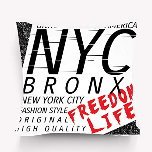 DeerLiKang Throw Pillow Cushion Cover New York City Bronx Grunge Background Typography Poster New York City Bronx Grunge Typography Decorative Square Accent Pillow Case 18 X 18 -