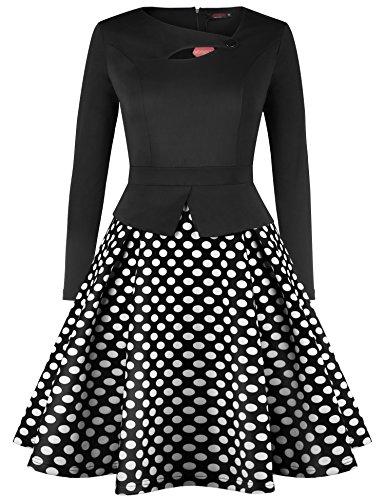 Kragen Drucken Vessos Langärmeliges Abendkleid Damen 3 Retro Muster 50s Unregelmäßiger Kleid