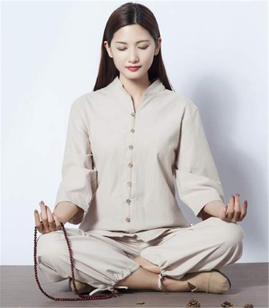 peiwen Women  s Yoga Wear Chino Natural de algodón y Lino Costume Deportes  al Aire Libre Tops y Pantalones Ropa de meditación  Amazon.es  Deportes y  aire ... bee514c32b3e