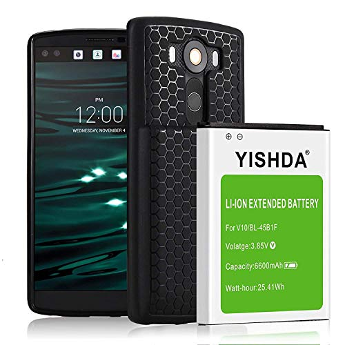 YISHDA LG V10 Battery,6600mAh Li-ion Extended Battery Replacement for LG V10 BL-45B1F with Back Cover & TPU Protective Case for H960A H900 H901 VS990 LS992 | LG V10 Battery Case [18 Month Warranty]