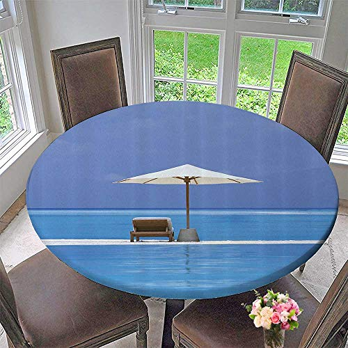 Round Polyester Tablecloth Table Cover ACH Chairs and Umbrella Island in The Middle of Ocean Seascape 55