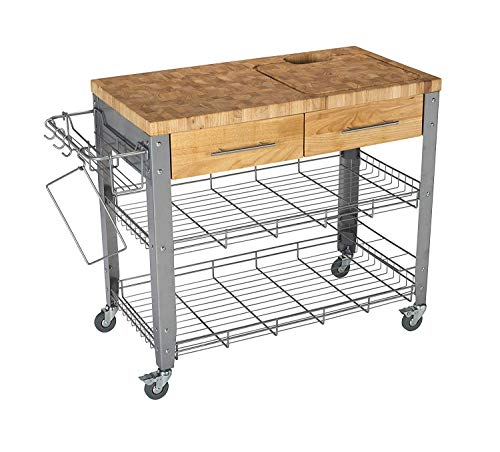 Chris & Chris Jet1221 Rolling Kitchen Island Food Prep Table - Durable Cutting Surface, Juice Groove and Collection Pan - 2 Storage Drawers, Condiment Rack and 2 Wire Shelves, 20