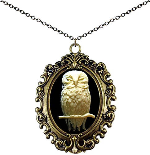 Antique Brass Necklace Cameo Big Pendant Jewelry 2 Chain Deluxe Pouch Gift (Owl) (Cameo Pendant Necklace)