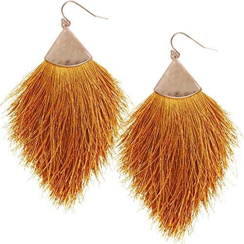 Brown Yellow Earrings - Humble Chic Fringe Tassel Statement Dangle Earrings - Lightweight Long Feather Drops, Mustard, Dark Yellow, Brown, Gold-Tone