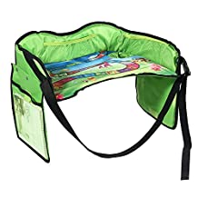 Kobwa Car Seat Travel Tray, Solid Kids Play & Snack Drawing Lap Activity Table with Bottle Holder, Large Storage Pocket (Green)