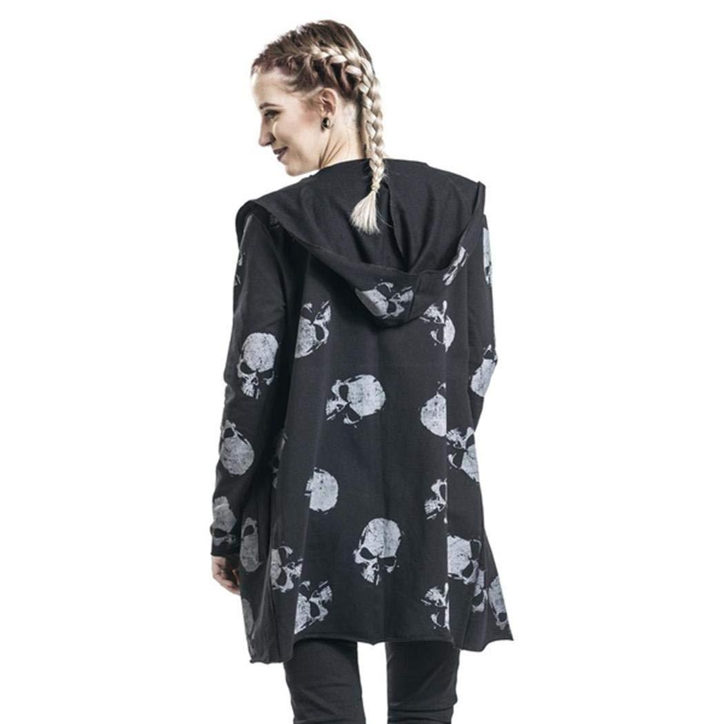 Dadiku C/árdigan de Manga Larga con Estampado de Calavera de Moda para Mujer Chaquetas