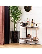South Shore Furniture South Shore Maliza Bar Cart, Rose Gold and Smoked Glass