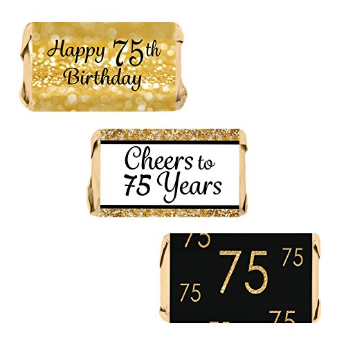 DISTINCTIVS 75th Birthday Party Miniatures Candy Bar Wrapper Stickers - Gold and Black (Set of 54)