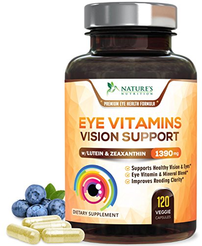 (Eye Vitamins with Lutein & Zeaxanthin for Macular Degeneration 1390mg - Made in USA - Vision Support for Dry Eyes & Computer Users, Beta-Carotene & Bilberry, Ocular Mineral Supplement - 120 Capsules)