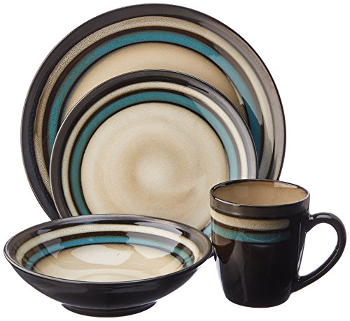 Gibson Lewisville 16 Piece Dinnerware Cream with Teal Reactive Metallic Rim, (Bistro Cream)