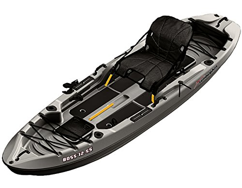 Sun Dolphin Boss SS Sit-On/Stand On Top Angler Kayak (Gray, 12.3-Feet) by Sun Dolphin