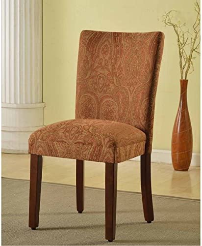 Metro Shop Classic Parson Red/Gold Damask Fabric Dining Chair