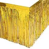 Leegleri 2 Pack Metallic Foil Fringe Table Skirt Gold Table Skirt Tinsel Party Table Skirt Banner for Mardi Gras Party(L108 inH 29in,Gold)